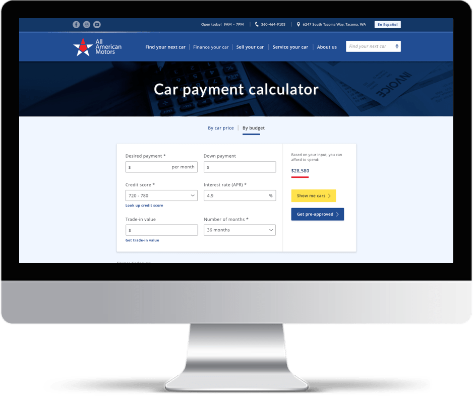 Imac showing 'Car Payment Calculator' tool of All American Motors Website