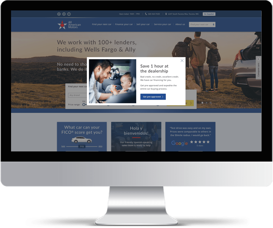Imac showing a smart pop-up of All American Motors Website