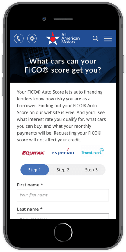 Screenshot of Credit Score page in the website of All American Motors Car Dealership inside of a mobile phone mock up