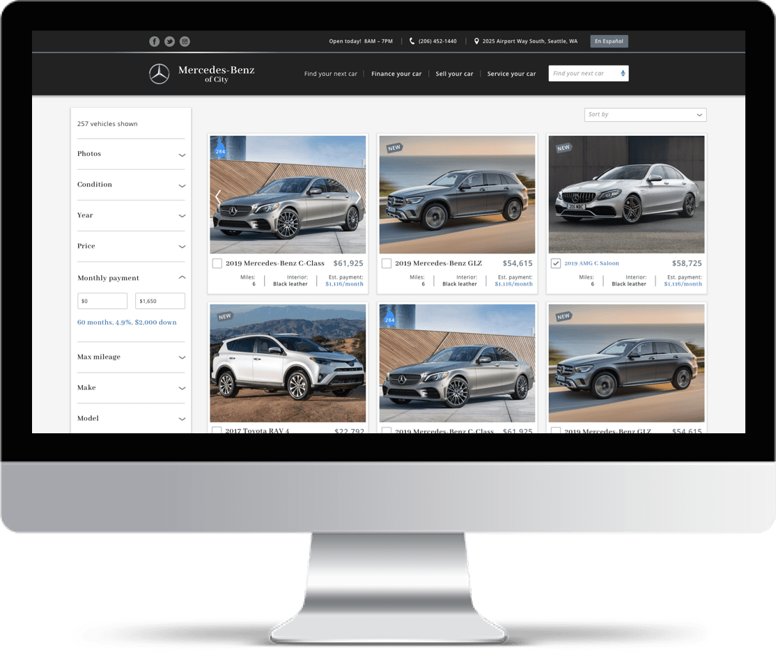 Imac showing Inventory Page of Mercedes Benz Demo Website