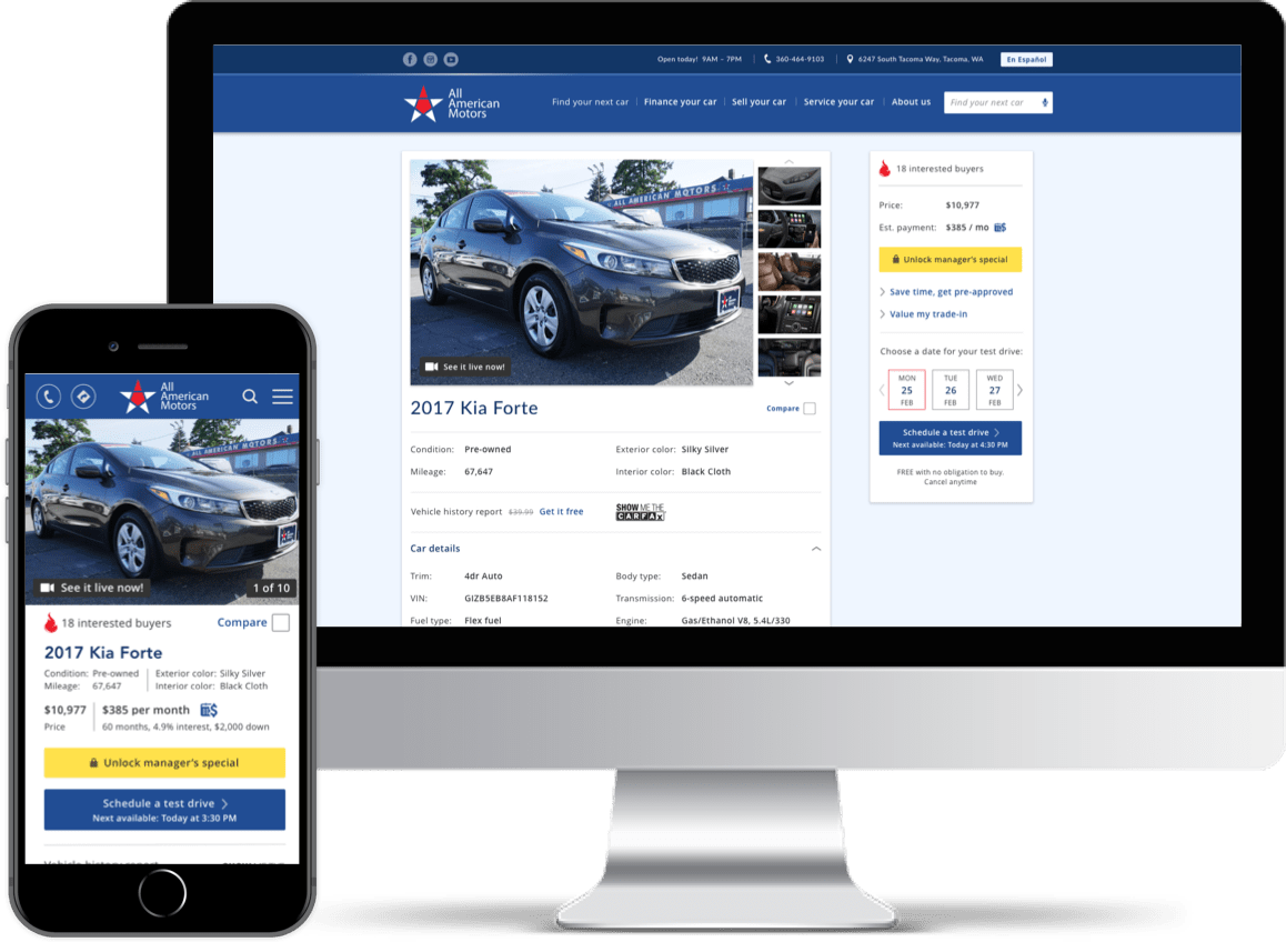Imac and Iphone showing Vehicle Page of All American Motors website