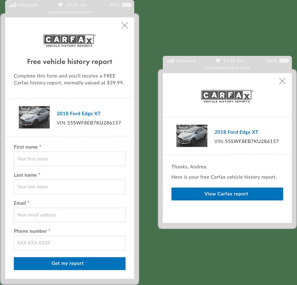 Screenshot of mobile version showing Carfax Tool