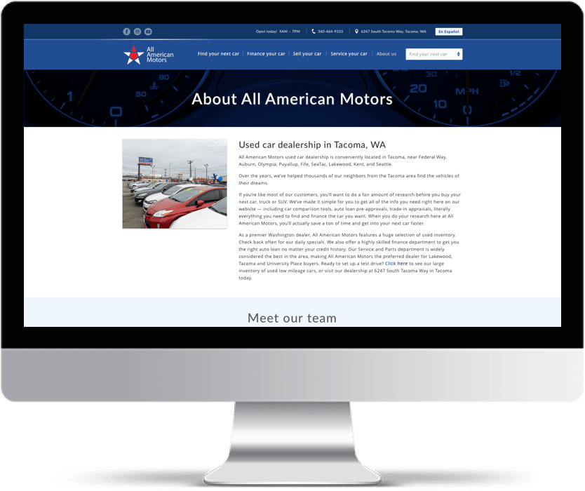 Imac showing About us page of American Motors Website