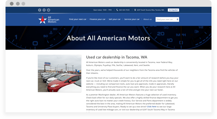 Screenshot of desktop version showing About us of All American Motors Website