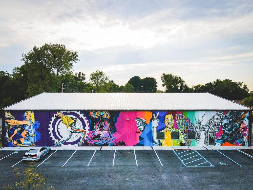 mural, building, colorful