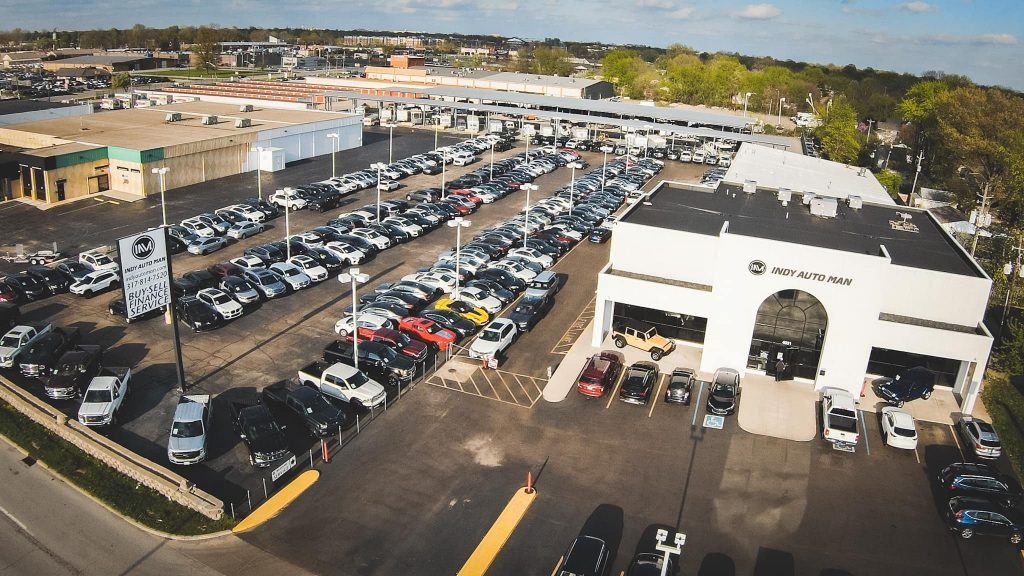 indy auto man dealership aerial view
