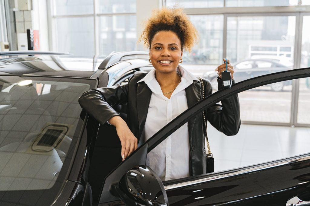 lady, car shopping, dealership